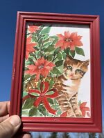 Vintage ONE OF A KIND Signed Lithograph Art Poinsettia Orange Tabby Cat ❤️sj8j1