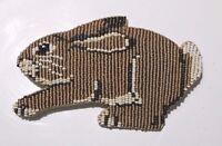 Hand-Made Art Jewelry Beaded Brooch Rabbit Shape Pin Mary B Hetz of Solana Beach