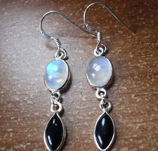 Blue Moonstone and Black Onyx Marquise 925 Sterling Silver Dangle Earrings