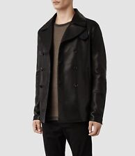 All Saints Piper Leather Peacoat. Jacket. Coat. Black. Extra Small . XS