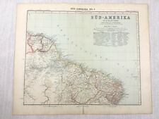 1907 Antique Map of South America Brazil Maranhao Ceara Gotha Justus Perthes