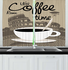"Ambesonne Kitchen Curtains 2 Panel Set Window Drapes 55"" X 39"" Home Decor"