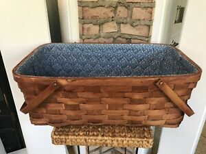 """Moses Basket Hand Woven Reed Wicker Folding Handles Quilted Liner 24"""" x 14"""" x 9"""""""