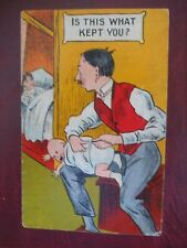 Old Suffragette style COMIC man does baby nappy WIFE SLEEPS in bed WHAT KEPT YOU