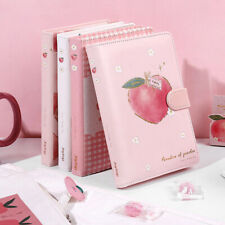 """Peach Bunny Faux Leather"" Cute Journal Diary Girls Notepad Notebook Planner"