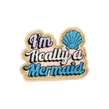 Really A Mermaid (Iron On) Embroidery Applique Patch Sew Iron Badge