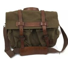 Belstaff Messenger Canvas Green Colonial Bag Leather Accents Laptop Bag