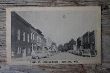1947 Burr Oak Michigan Postcard Third Street Looking North Downtown Photo Cars