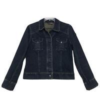 i.e. Relaxed Denim Jean Jacket Womens Sz L Large Hidden Snap Flap Pockets Blue