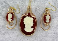 Vintage Antique  Cameo Earrings and Pendant n 14kt Rolled Gold Settings   1940s