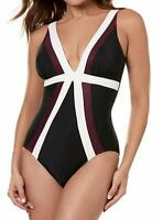 Miraclesuit BLACK Spectra Trilogy One-Piece Swimsuit, US 16