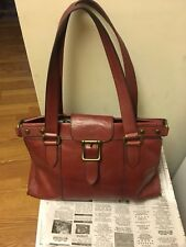 Fossil Reissue Vintage Revival Red Satchel Tote Shoulder Bag Hand Purse ZB5410