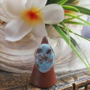 Larimar Emotional Healing Gemstone Ring US 8.5 (E1707)