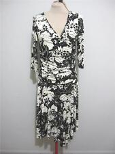 JOI Evening Work Cocktail DRESS 14 Black Off White 3/4 Sleeve Asymmetrical Hem