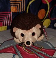 TY Beanie Baby Prickles the hedgehog 1998 Retired with tags brown and tan