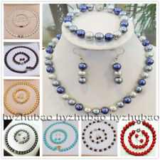 10mm 12mm South Sea Shell Pearl Round Beads Necklace Bracelet Earrings Set AAA+