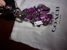 NWT COACH F58517 PURPLE LEATHER FLORAL KEYCHAIN BAG CHARM MSRP $90