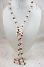 COLLANA lunga 114 cm Perle Naturali Bianche Bronzo e Rosa Cipria Neklace pearls