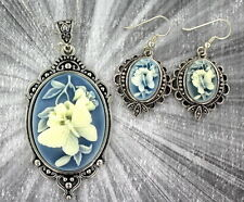 VINTAGE STYLE  CAMEO PENDANT, NECKLACE AND EARRINGS SILVER PLATED SETTING