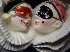 RARE Art Deco Pierrot Pierrette French Majolica Porcelain Plaque Mask Half Doll