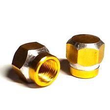 2 Amber Billet Hex Valve Stem Caps for Motorcycle & Car Wheel Air Tire Rims