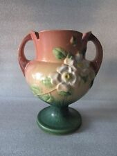 Beautiful Rare Antique Roseville Art Pottery White Rose Terra Cotta Trophy Vase