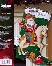 "Bucilla Cowboy Santa ~ 18"" Felt Christmas Stocking Kit #85468 Western Horse, OOP"