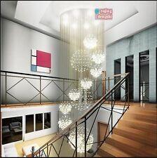 Modern Rain Drop Chandelier Crystal Light Ceiling Living Stairs Lighting Fixture