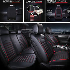 Black Red Deluxe Edition Car Seat Cover Cushion 5-Seats Front + Rear w/Pillows