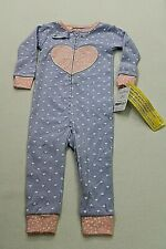 NEW Carters Infant One Piece Footless Blue Sleeper 12 Months w/ Heart NWT