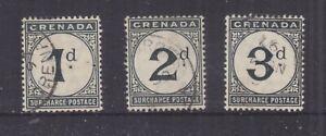 GRENADA, POSTAGE DUE, 1892 CA set of 3, used.