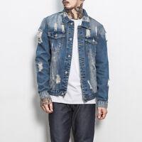 Men Casual Distressed Ripped Denim Jacket Retro Trucker Jean Coat Tops Outwear