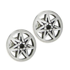 Sterling Silver Septagram Stud Earrings - Fairy Faerie Magic Wiccan Jewelry