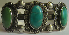 VINTAGE NAVAJO INDIAN STERLING SILVER GREEN & BLUE TURQUOISE CUFF BRACELET