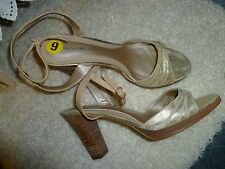 Womens Shoes High Heels  Bandolino 9 M Unworn Champagne Gold Open Toe