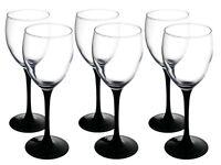 Tall Black Stem Elegant Wine Glass | Set of 6, 250 ml