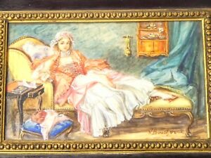 19thC Portrait Miniature Signed After Boucher Lady on Daybed Trinket Box