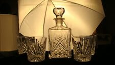 Whiskey Bourbon Crystal Glass Decanter and 4 Rocks Glasses  5 Piece Set