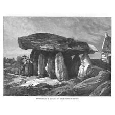 BRITTANY Great Dolmen of Corconne Druidic Remains - Antique Print 1871