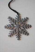 Copo de nieve goma Eva purpurina Navidad. De 6 cm 15 uds plateado con cuerda