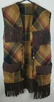 Pioneer Wear Long Poncho Leather Fringed Vintage Size Small