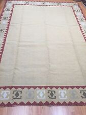 "8' x 10'9"" New Indian Dhurrie Oriental Rug - Two Sided - Hand Made - 100% Wool"