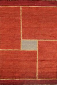 Contemporary Geometric Gabbeh Oriental Area Rug Hand-Knotted Wool 4x7 RED Carpet