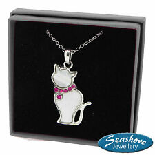 """White Cat Necklace Mother of Pearl Shell Pendant Silver Fashion Jewellery 18"""""""