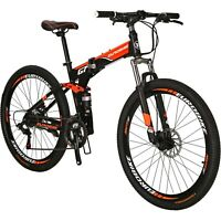 "27.5"" Folding Mountain Bike 21 Speed Full Suspension Mens Bikes Foldable Bicycle"