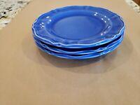 3 VARAGES Luberon Cobalt Blue salad plates 8'' Embossed Rim, Made in France