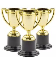 Mini Gold Plastic Trophies, Kid's Prizes Party Bags & Rewards (Pack of 12) UK