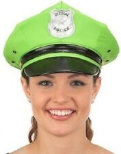LIME GREEN POLICE POLICEMAN OFFICER COP PARTY COSTUME HAT CAP - ADULT SIZE - NEW
