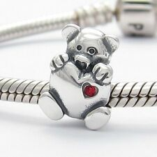 MOTHERS DAY TEDDY BEAR CHARM Bead Sterling Silver.925 for European Bracelets 857