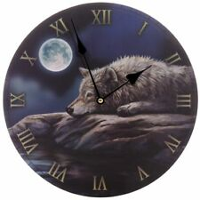 LISA PARKER QUIET REFLECTION WHITE WOLF PICTURE WALL CLOCK